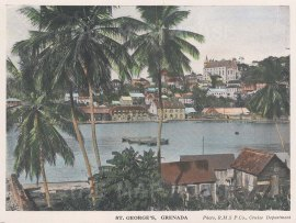 """R.M.S.P Co.: St. George's, Grenada. c1920. An original tinted vintage photo-lithograph. 6"""" x 4"""". [WINDp1223]"""