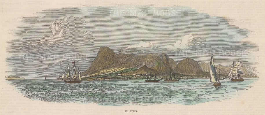 "Illustrated London News: St. Kitts. c1880. A hand coloured original antique wood engraving. 9"" x 5"". [WINDp1226]"