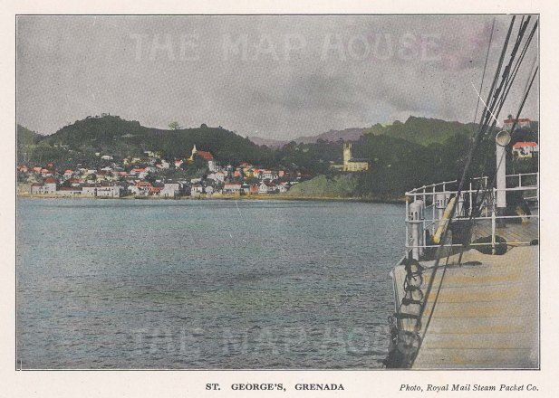 "R.M.S.P Co.: St George's, Grenada. c1920. An original tinted vintage photo-lithograph. 6"" x 4"". [WINDp1230]"