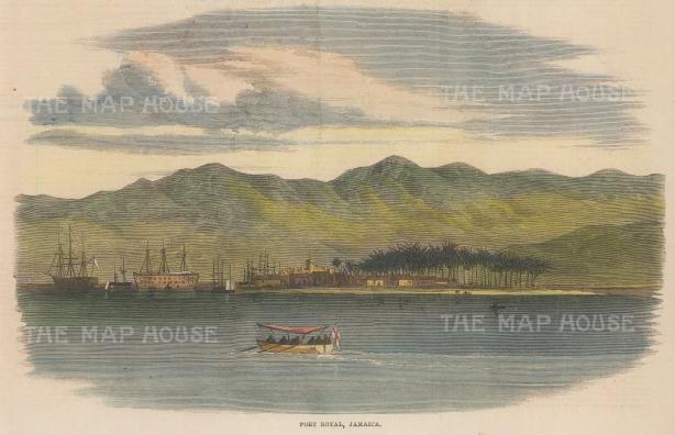 "Illustrated London News: Port Royal, Jamaica. 1865. A hand coloured original antique wood engraving. 9"" x 6"". [WINDp1246]"