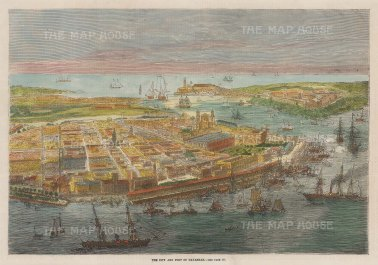 "Illustrated London News: Havana, Cuba. 1866. A hand coloured original antique wood engraving. 12"" x 9"". [WINDp1252]"