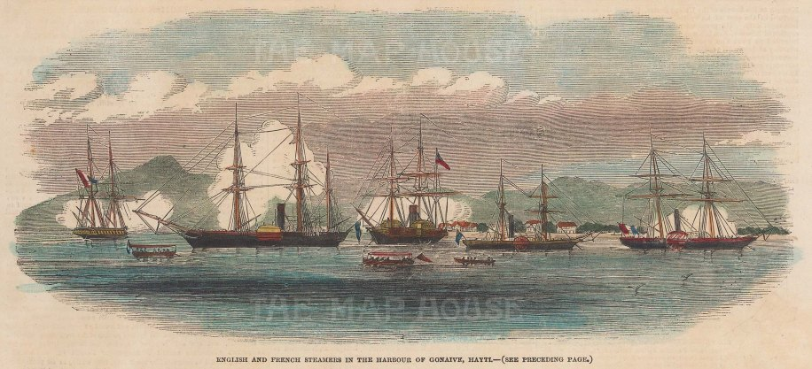 English & French Steamers in the harbour of Gonaive.