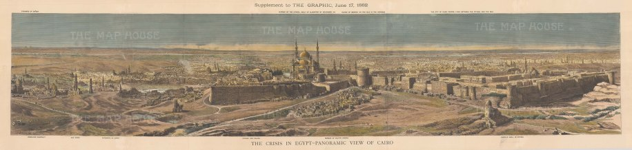 Panoramic View from the Pyramids at Giza to the Citadel of Cairo. With Key. The Anglo Egyptian War of 1882 ended with a British victory that expanded the British Empire's control over Egypt.