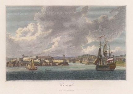 "Jackson: Havana, Cuba. c1834. A hand coloured original antique steel engraving. 10"" x 8"". [WINDp1154]"
