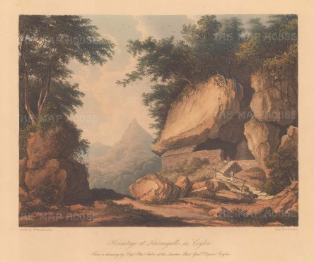 Dambulla (Karangalle): View of the entrance to the Golden Temple of Dambulla. After Capt Charles Auber.