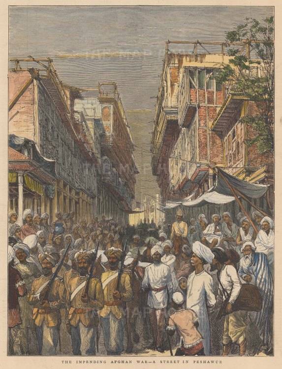 Peshawur: View a the principal street prior to the Second Anglo Afghan War