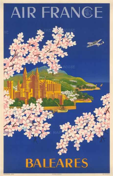 Baleares: Promotional poster advertising Air France's flights to the Balearics by Lucien Boucher.