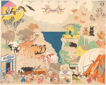 London Underground: From the Ark to Regent's Park. Poster showing the animals of Noah's ark travelling by Underground from Mt Ararat to their new homes at London Zoo in Regent's Park. By Arnrid Johnston.
