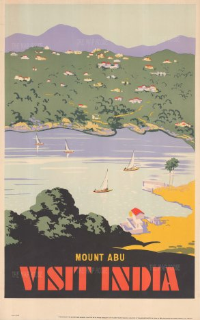 India: Promotional poster for Mount Abu and Lake Nakki, Rajasthan. Issued by the Ministry of Information and Broadcasting. Printed in Madras.