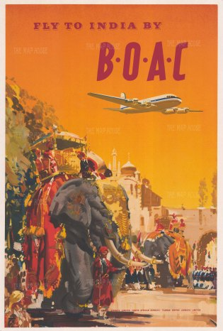 India: Fly to India. Promotional poster for B.O.A.C in association with Quantas Empire, South African and Tasman Airways.
