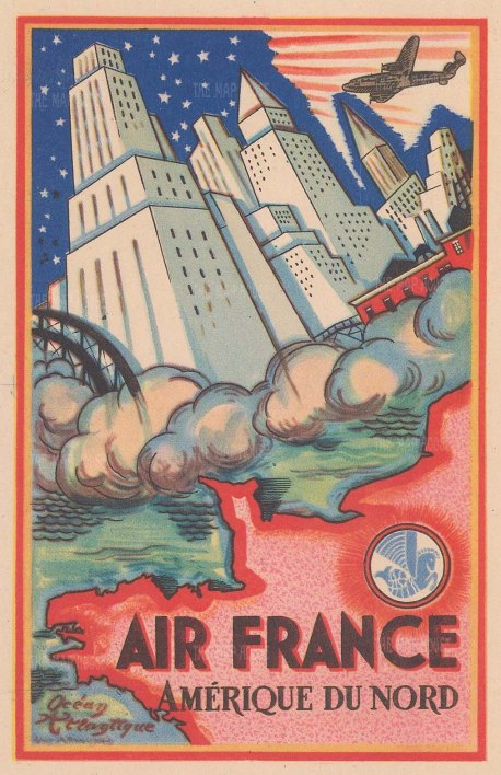 Amerique du Nord: Vintage postcard promoting Air France's routes in North America. By Guy Arnoux.