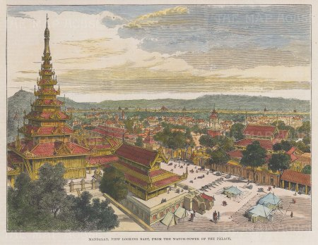 Mandalay: View from the Palace watchtower looking East.