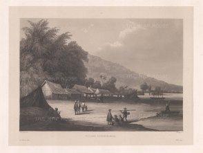 Han River: Village on the Han river near Da Nang. After Barthelemy Lauvergne, artist on the voyage of La Favorite 1829-32.