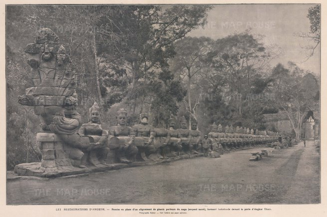 Angkor Thom: Restoration of the North Gate Bridge under the supervision of the Ecole Française d'Extrème Orient.
