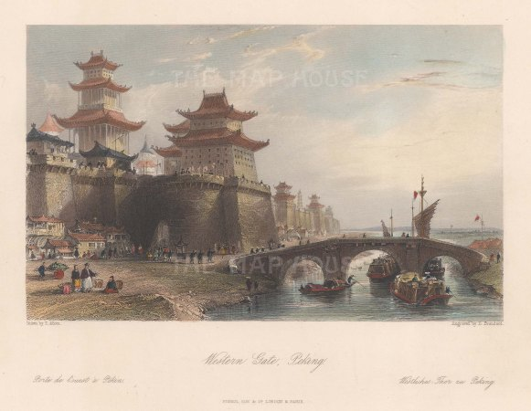 "Wright: Gugong, Beijing (Imperial Palace, Peking). 1847. A hand coloured original antique steel engraving. 9"" x 7"". [CHNp1160]"