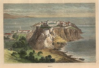 """Illustrated London News: Monaco. 1882. A hand coloured original antique wood engraving. 9"""" x 7"""". [FRp1636]"""