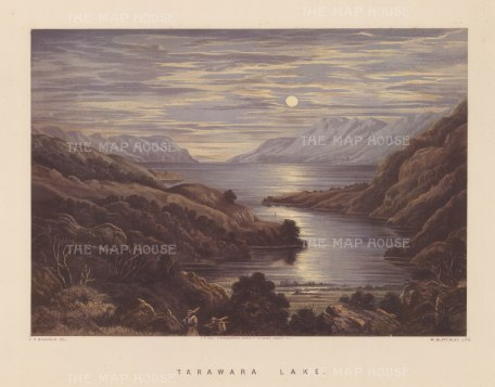 Tarawera Lake: Moonlit view over the lake before the devastating eruption of Mount Tarawera in 1886.