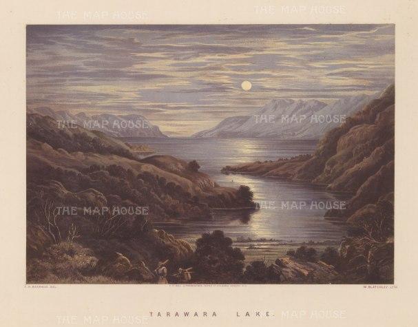 Tarawera Lake: Moonlit view over the lake before the devastating eruption of Mount Tarawera in 1886.
