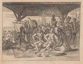 Incas crowning two conquistadors.