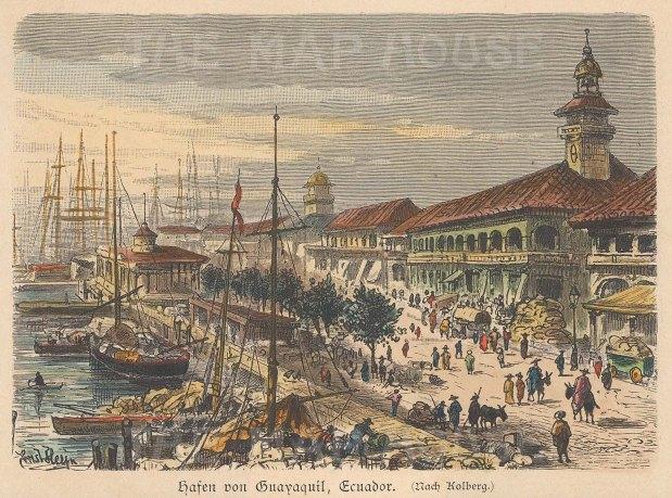"""Geiltbeck: Guayaquil, Ecuador. 1897. A hand coloured original antique wood engraving. 5"""" x 4"""". [SAMp1109]"""
