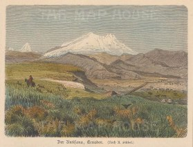 """Geiltbeck: Antisana, Ecuador. 1897. A hand coloured original antique wood engraving. 5"""" x 4"""". [SAMp1110]"""