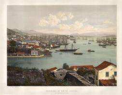 Rio de Janeiro: Panorama of the city and Port Marchand de la Saude.