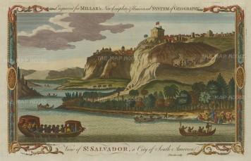 """Millar: Salvador. 1738. A hand coloured original antique copper engraving. 12"""" x 8"""". [SAMp1125]"""