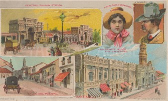 "Arbuckle Brothers: Santiago, Chile. 1891. An original antique chromolithograph. 6"" x 4"". [SAMp1150]"