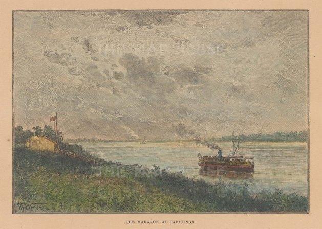 "Reclus: Tabatinga. 1894. A hand coloured original antique wood engraving. 8"" x 6"". [SAMp1178]"