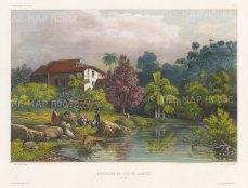 Rio de Janeiro: Villa in the environs. After Theodore-Auguste Fisquet, artist on the voyage of La Bonite 1836-7.