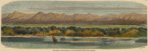 "Garnier: Paruacuara Mountains. c1876. A hand coloured original antique wood engraving. 10"" x 4"". [SAMp1336]"