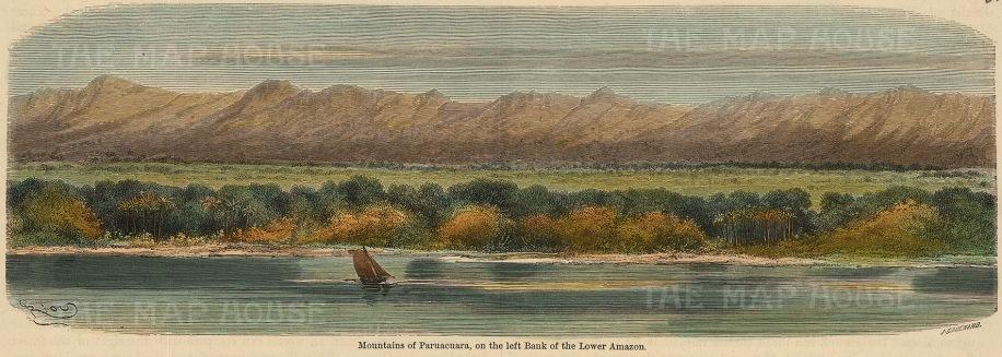 "Garnier: Paruacuara Mountains. c1876. A hand coloured original antique wood engraving. 10"" x 4"". [SAMp1336]"