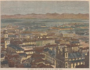 "Illustrated London News: Rio de Janeiro. 1865. A hand coloured original antique wood engraving. 13"" x 10"". [SAMp1350]"