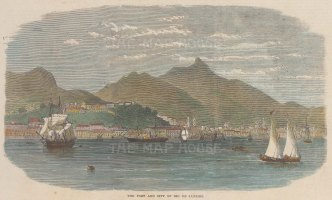 """Illustrated London News: Rio de Janeiro. 1864. A hand coloured original antique wood engraving. 10"""" x 6"""". [SAMp1362]"""