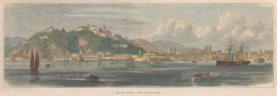 "Illustrated London News: Rio de Janeiro. 1889. A hand coloured original antique wood engraving. 13"" x 4"". [SAMp1373]"