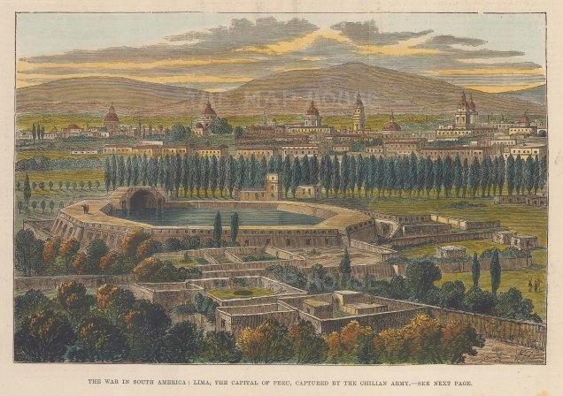 """Reclus: Lima, Peru. 1881. A hand coloured original antique wood engraving. 8"""" x 6"""". [SAMp1385]"""