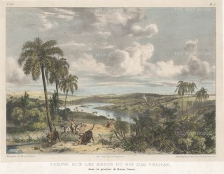 "Rugendas: Rio das Velhas. 1835. An original colour antique lithograph. 13"" x 10"". [SAMp1397]"