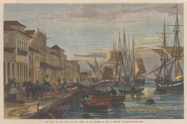 "Illustrated London News: Boavista. 1865. A hand coloured original antique wood engraving. 14"" x 10"". [SAMp1402]"