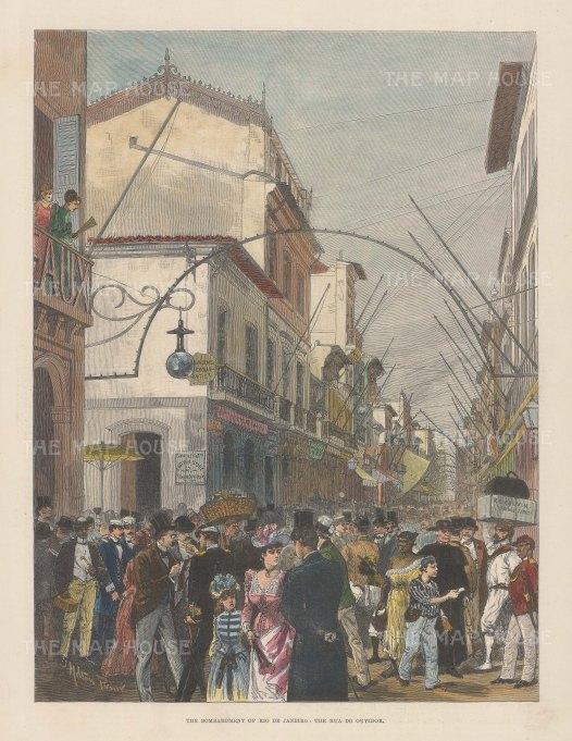 """Illustrated London News: Rio de Janeiro. 1893. A hand coloured original antique wood engraving. 9"""" x 14"""". [SAMp1463]"""