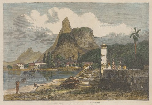 "Illustrated London News: Rio de Janeiro. 1864. A hand coloured original antique wood engraving. 10"" x 7"". [SAMp1485]"