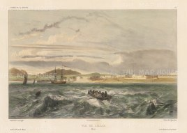 Panorama of the port from the Pacific. After Barthélemy Lauvergne, artist on the voyage of La Bonite 1836-7.