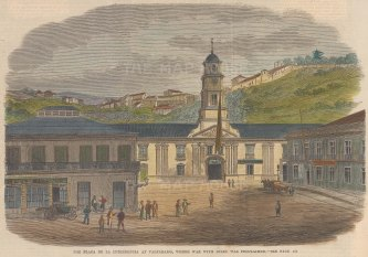 "Illustrated London News: Plaza de la Intendencia, Valparaiso, Chile. c1860. A hand coloured original antique wood engraving. 9"" x 6"". [SAMp859]"