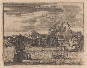 Panoramic view of the Spanish port under siege.