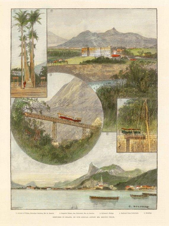 Rio de Janeiro: Views of the Botanical Gardens, San Cristobel, Sylvester Bridge, Corcovado rail and Botafogo.