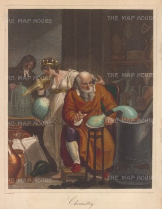 Allegory with a Philospher on a Sand-bath furnance performing chemical analysis whilst a student melts a diamond with the suns rays through a lens, with Chemistry with a coronet on her head and a globe in hand.