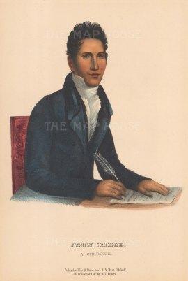"McKenney & Hall: John Ridge. 1855. An original colour antique lithograph. 6"" x 10"". [USAp1881]"