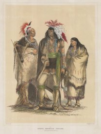 Composite portrait of an Osage warrior, Iroquois warrior and a Pawnee woman.