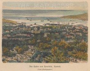 "RESERVED Geiltbeck: Honolulu, Hawaii. 1897. A hand coloured original antique wood engraving. 5"" x 4"". [USAp4593]"