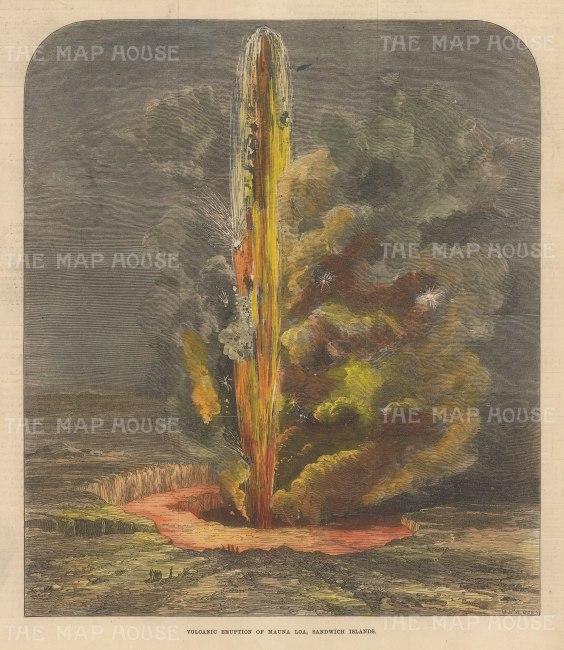 "Illustrated London News: Mauna Loa, Hawaii. 1872. A hand coloured original antique wood engraving. 8"" x 10"". [USAp4985]"