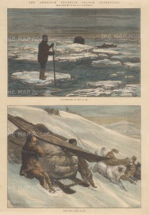 "Illustrated London News: Franklin Search Expedition, Arctic. 1881. A hand coloured original antique wood engraving. 9"" x 14"". [ARCp445]"